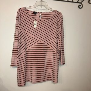 Talbots Top size 2X Pink & Black metered Stripes